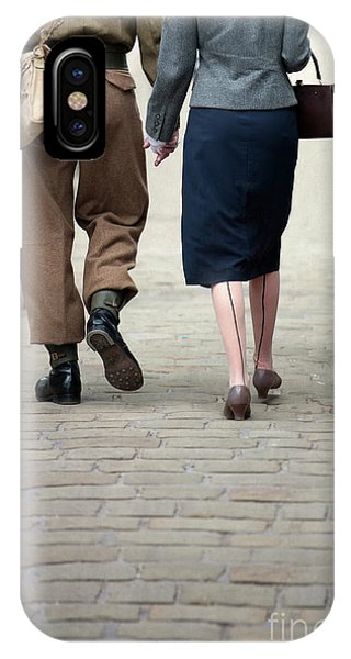1940s Couple Soldier And Civilian Holding Hands IPhone Case