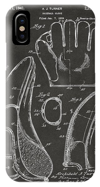 1941 Baseball Glove Patent - Gray IPhone Case