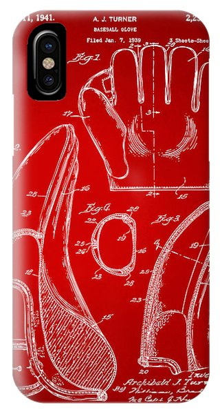 1941 Baseball Glove Patent - Red IPhone Case