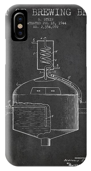 Brewery iPhone Case - 1944 Art Of Brewing Beer Patent - Charcoal by Aged Pixel