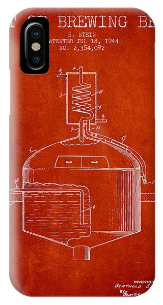 Brewery iPhone Case - 1944 Art Of Brewing Beer Patent - Red by Aged Pixel
