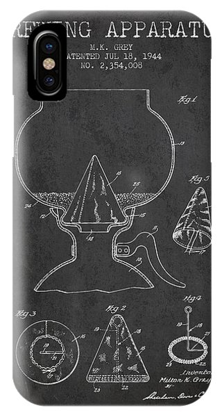 Brewery iPhone Case - 1944 Brewing Apparatus Patent - Charcoal by Aged Pixel