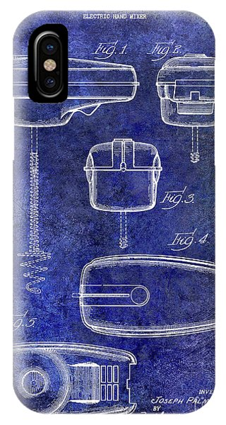 1950 Electric Hand Mixer Patent Blue IPhone Case