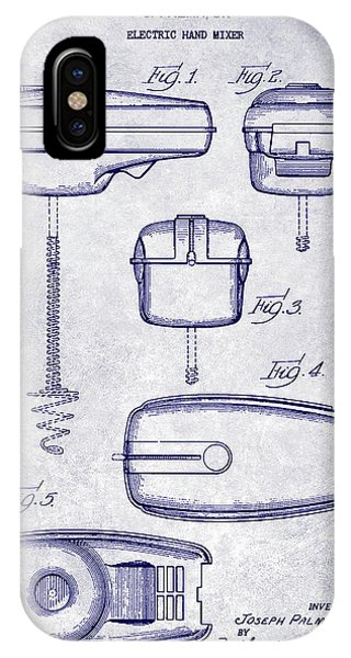 1950 Electric Hand Mixer Patent Blueprint IPhone Case