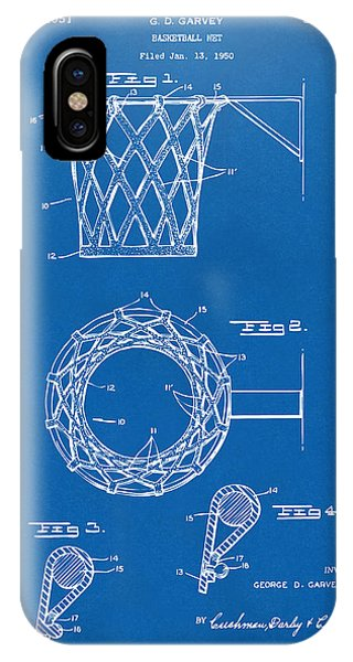 Patent Office iPhone Case - 1951 Basketball Net Patent Artwork - Blueprint by Nikki Marie Smith