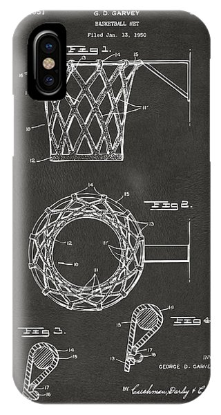 1951 Basketball Net Patent Artwork - Gray IPhone Case