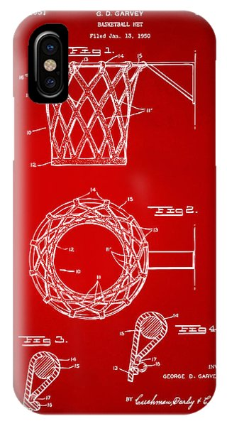 1951 Basketball Net Patent Artwork - Red IPhone Case