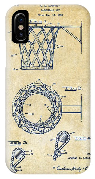 1951 Basketball Net Patent Artwork - Vintage IPhone Case