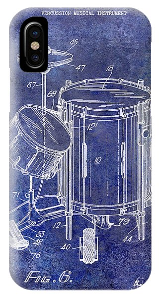 Drum iPhone Case - 1951 Drum Kit Patent Blue by Jon Neidert
