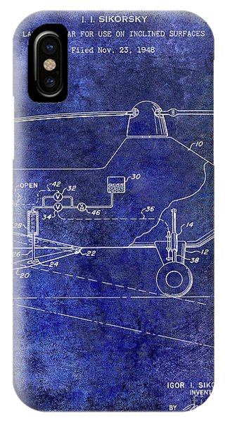 1953 Helicopter Patent Blue IPhone Case
