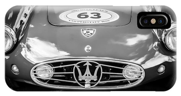 IPhone Case featuring the photograph 1954 Maserati A6 Gcs -0255bw by Jill Reger