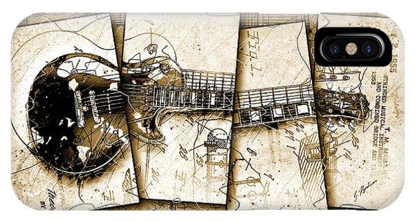 Van Halen iPhone Case - 1955 Les Paul Custom Quadtych by Gary Bodnar