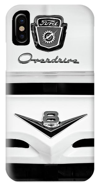 1956 Ford F-100 Truck Grille Emblem -0196bw IPhone Case