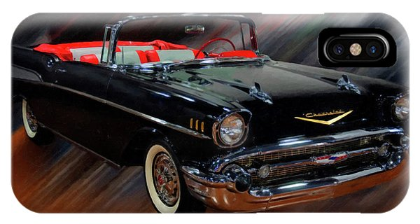 1957 Chevy Bel Air Convertible Digital Oil IPhone Case