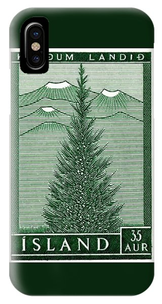 Spruce iPhone Case - 1957 Iceland Spruce Tree Postage Stamp by Retro Graphics