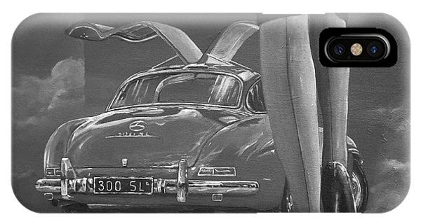 1957 Mercedes Benz 300 Sl Gullwing Coupe In Black And White IPhone Case