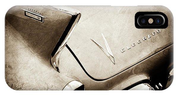 1958 iPhone Case - 1958 Cadillac Eldorado Biarritz Taillight Emblems -0255s by Jill Reger