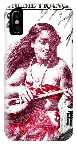 Reef iPhone Case - 1958 French Polynesia Guitar Girl 25fr Postage Stamp by Retro Graphics
