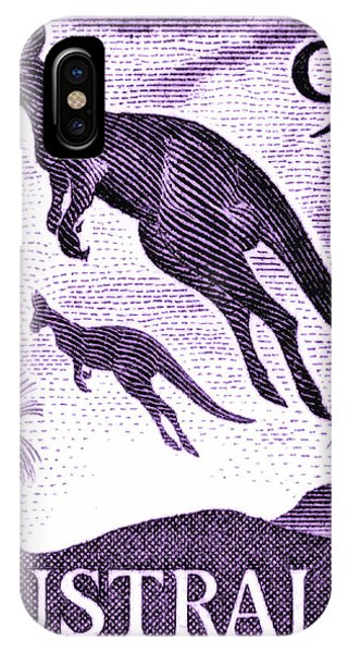Kangaroo iPhone Case - 1959 Australia Kangaroo Postage Stamp by Retro Graphics