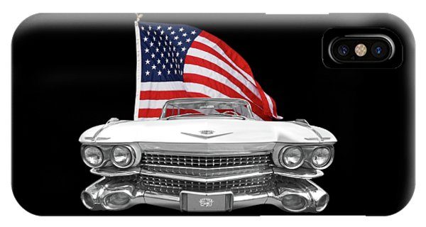 1959 Cadillac With Us Flag IPhone Case