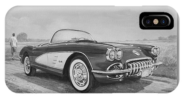 1959 Chevrolet Corvette Cabriolet In Black And White IPhone Case