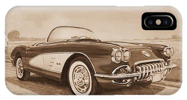 1959 Chevrolet Corvette Cabriollet In Sepia IPhone Case