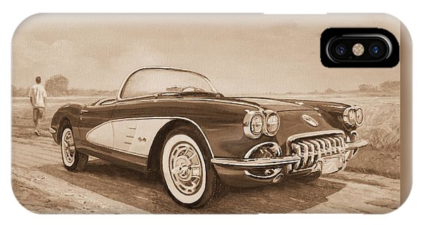 1959 Chevrolet Corvette Cabriollet In Sepia IPhone Case