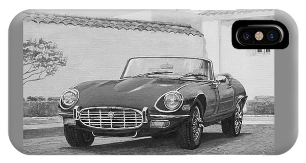 1961 Jaguar Xke Cabriolet In Black And White IPhone Case