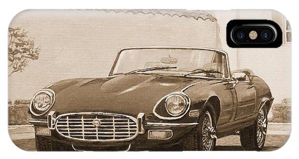 1961 Jaguar Xke Cabriolet In Sepia IPhone Case