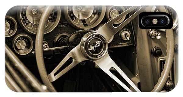 1963 Chevrolet Corvette Steering Wheel - Sepia IPhone Case