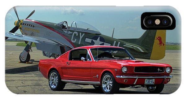 1965 Mustang Fastback And P51 Mustang IPhone Case