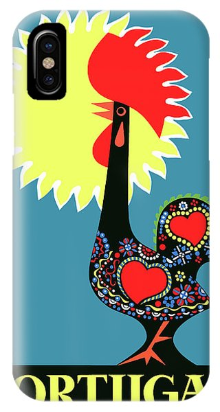 Portugal iPhone Case - 1965 Portugal Rooster Of Barcelos Travel Poster by Retro Graphics