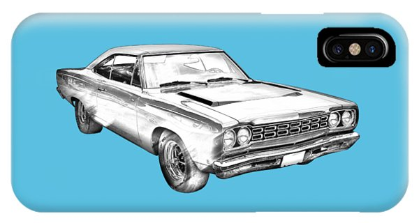 1968 Plymouth Roadrunner Muscle Car Illustration IPhone Case