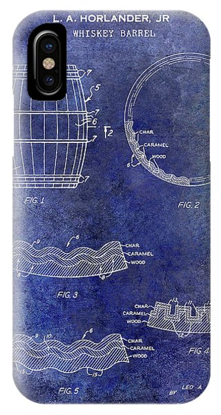 Bar iPhone Case - 1968 Whiskey Barrel Patent Blue by Jon Neidert