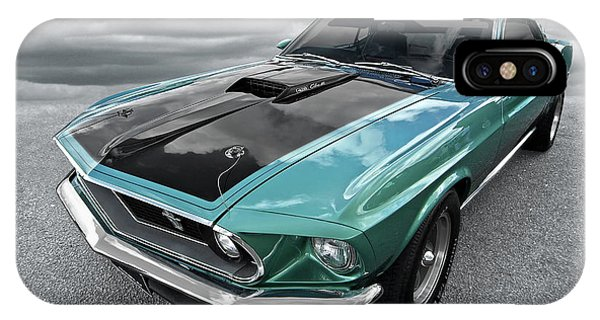 1969 Green 428 Mach 1 Cobra Jet Ford Mustang IPhone Case