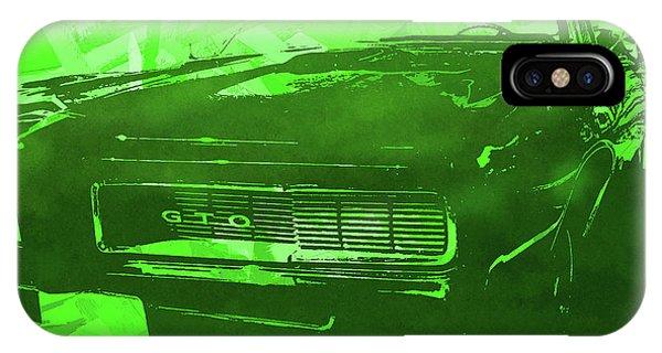1969 Pontiac Gto Convertible Pop Green IPhone Case