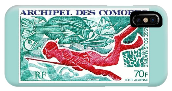 Reef Diving iPhone Case - 1972 Comoro Islands Spearfishing Postage Stamp by Retro Graphics