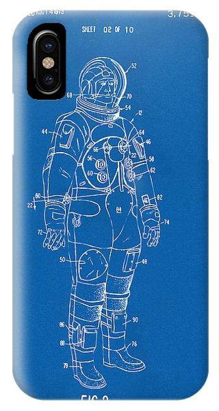 Astronaut iPhone Case - 1973 Astronaut Space Suit Patent Artwork - Blueprint by Nikki Marie Smith