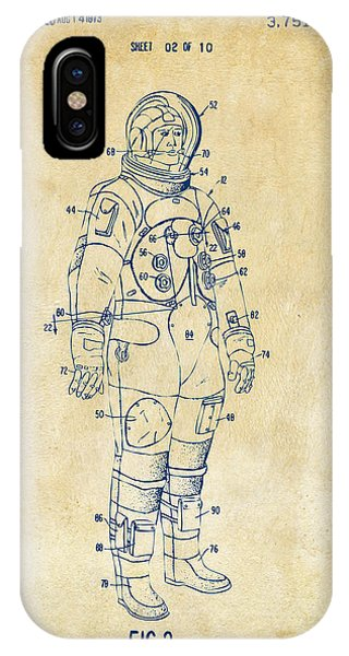 Astronaut iPhone Case - 1973 Astronaut Space Suit Patent Artwork - Vintage by Nikki Marie Smith