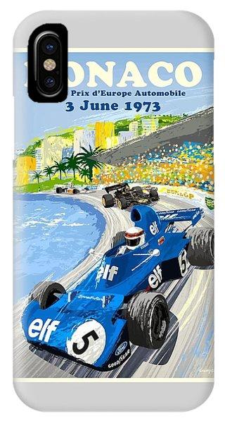 Geo iPhone Case - 1973 European Grand Prix Monaco Race Poster by Retro Graphics