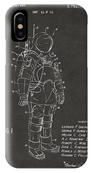 Astronaut iPhone Case - 1973 Space Suit Patent Inventors Artwork - Gray by Nikki Marie Smith