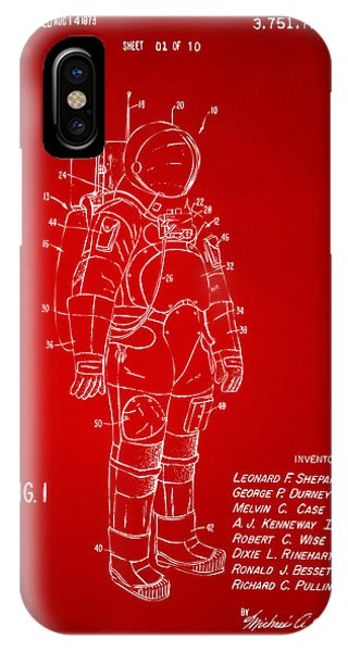 Astronaut iPhone Case - 1973 Space Suit Patent Inventors Artwork - Red by Nikki Marie Smith