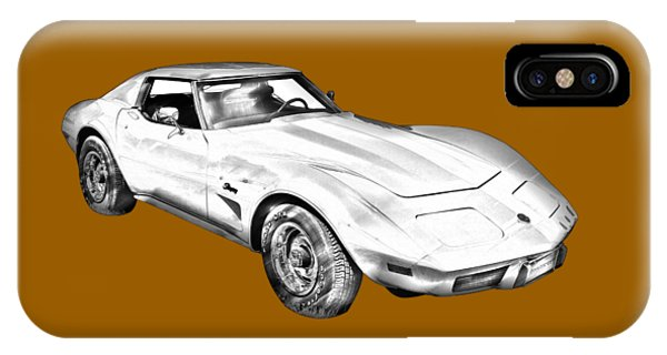 1975 Corvette Stingray Sports Car Illustration IPhone Case