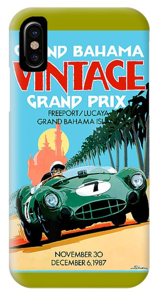 Geo iPhone Case - 1987 Grand Bahama Vintage Grand Prix Race Poster by Retro Graphics