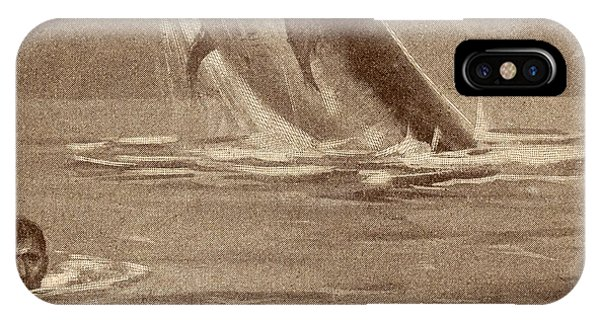 Shipwreck iPhone Case - 19th Century Illustration Of Man by Vintage Design Pics
