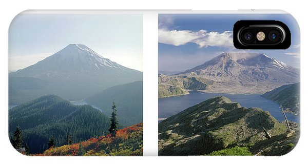 IPhone Case featuring the photograph 1m4903 And 1m4948 Mt. Saint Helens Before And After Wa by Ed Cooper Photography