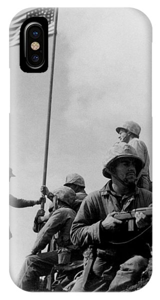 American Flag iPhone Case - 1st Flag Raising On Iwo Jima  by War Is Hell Store