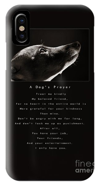 A Dog's Prayer  A Popular Inspirational Portrait And Poem Featuring An Italian Greyhound Rescue IPhone Case