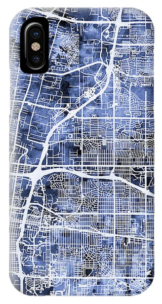New Mexico iPhone Case - Albuquerque New Mexico City Street Map by Michael Tompsett