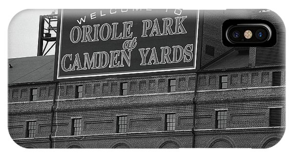 Yard iPhone Case - Baltimore Orioles Park At Camden Yards Bw by Frank Romeo
